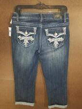 ZCO size 9 Capri Jeans Cropped Blue Denim embellished pockets