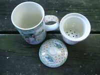 Three Piece JAPANESE Tea Steeping Cup Mug & Lid - Tea Making Tea Leaves