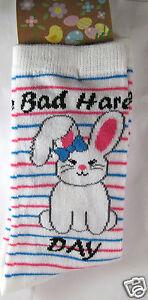 K.Bell Bad Hare Day Easter Bunny Rabbit Womans Stripe White Crew Socks New