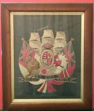 Antique Naval Sailor Needlework, Royal Coat Of Arms British Empire Flag, 1850's
