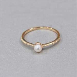 Solid 10K Yellow Gold Ring Beautiful Dainty Tiny ring Natural Pearl Stone ring
