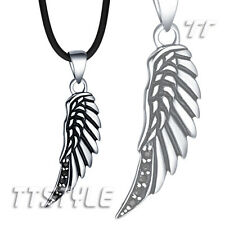 Quality TT 316L Stainless Steel Angel Wing Pendant Necklace With Black CZ(NP253)