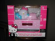 HELLO KITTY Sleeping Kitty Dual Alarm Clock AM/FM Radio Night Light NIB LED !