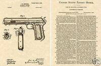 COLT 1903 AUTO PISTOL US PATENT READY TO FRAME!!  Browning Art Print .38 Cal Gun