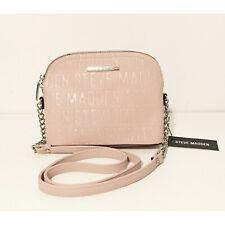 Steve Madden Women's BMaggie Logo Blush Pink Silver Chain Crossbody Bag Handbag