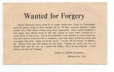 1910 Reward Postcard for Forgery Watsonville CA Constable to SF Police