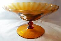 """BRAVO ITALIAN HANDCRAFTED AMBER RIBBED 4 1/2"""" X 8"""" FOOTED COMPOTE CANDY DISH"""