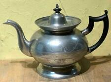 "Antique American Pewter Teapot, Bright Cut Engraved, Marked ""Td+Sb"", Ct, c. 1825"