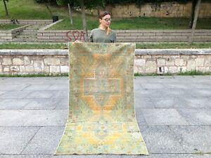 FADED TRIBAL HANDMADE ANATOLIAN TURKISH OUSHAK RUG, SOFT WOOL, DECORATIVE RUG
