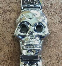 Men's Skull Watch Silver Urban Biker Style Covered Round Black Dial Linked Band!