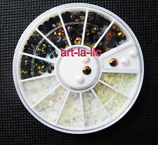 3 Sizes AB Rainbow White + Black Foil Rhinestones Nail Art Acrylic UV Gel Tips