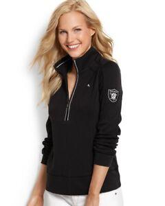Womens Tommy Bahama OAKLAND RAIDERS NFL Goal Line Half-Zip Sweatshirt Medium