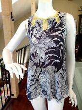 SWEET PEA Anthropologie Gray Floral Mesh Tank Top Sleeveless Tunic M NWOT