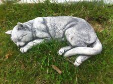 Katze Lebensecht schlafend gross aus massiven Steinguss