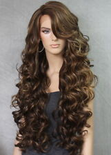 "40"" Long Lace Front Wig Full Beautiful Curly Brown mix Heat OK WBPR 8/27/613"