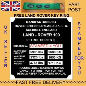 Land Rover Series 3 109 LWB Petrol Vin ID Plate/ Chassis VIN PLATE ESSENTIALS #1