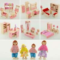 Child Kids Wooden Furniture Dolls House Miniature 6 Room Set Doll Xmas Gifts FT