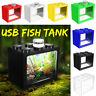 Mini Clear Goldfish Betta LED USB Fish Tank Ornament Aquarium Office Home Decor
