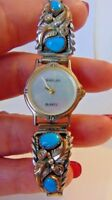 NAVAJO TURQUOISE STERLING SILVER WATCH