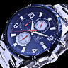 Pierrini Herren Armband Uhr Blau Silber Farben Chronograph Stoppuhr Datum