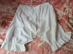 Antique cotton shorts or bloomers, French under wear, eyelet lace frills