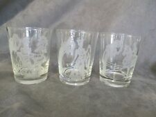 C1 Johnnie Walker 3 Double Old Fashioned Glasses Etched Frosted