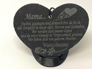 Schieferherz Grabschmuck Grab Herz mit Spruch Gravur Schiefer Grabstein Grabdeko