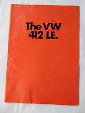 VW 412LE - 1972 UK Market Sales Brochure. Printed in Germany