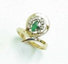 VINTAGE 14K SOLID YELLOW GOLD EMERALD AND DIAMONDS JOURNEY RING