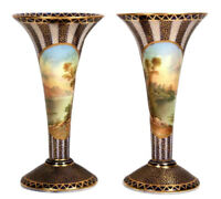 Antique Aynsley Pair of Vases Signed J Keeling Circa 1890