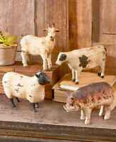 Rustic Distressed Country Barnyard Farm Animal Sculptures Goat Cow Pig Sheep