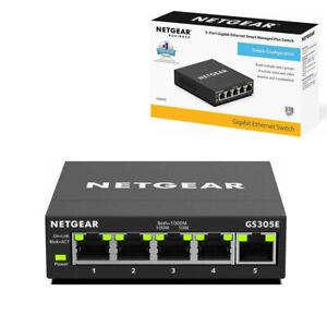 NETGEAR GS305E 5 Port Network Switch Gigabit Ethernet Managed Black Spliter