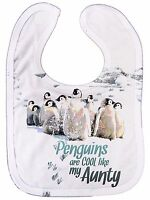 "Funny Aunty Bib ""Penguins are Cool Like My Aunty"" Niece Nephew Love Auntie Gift"