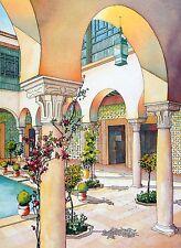PATIO ANDALOUSIE French Aquarelle Dessin Architecture ORIENTALISTE ART DECO E.O.