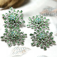 Wholesale 10x Green Crystal Rhinestone Brooch Pins Bridal Wedding Bouquet Decor