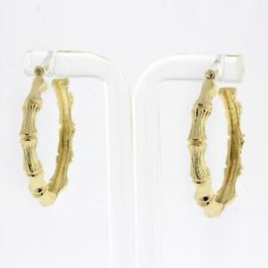 "Vintage Bamboo Round Hoop Earrings 14K Yellow Gold 1.25"" 4.5 mm Wide Estate"