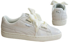 Puma Basket Heart Night Sky Womens Trainers Lace Up White Leather 364108 02 M18