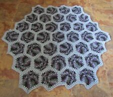 Crocheted Hexagon Granny Blanket, Purple, Black and Grey, Approx 46 inches acros