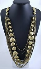Antiqued Brass Box Chain Puffy Hearts Multi Chain Long Lagenlook Necklace
