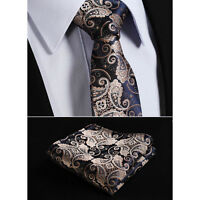 Mens Tie Gold Brown Navy Blue Wedding Paisley Silk Floral Hanky