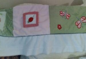 """Minky Dot Chenille Valance ~ Ladybugs ~ Pink Green White Red ~ Babys Room ~ 60"""""""