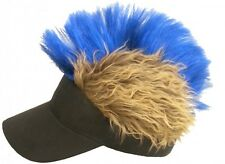 FLAIR HAIR HATS WITH HAIR BLACK VISOR BROWN HAIR BLUE MOHAWK PUNK SKATE SNOW NEW