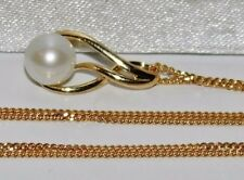9ct Gold Cultured Pearl Ladies Dropper Pendant & 18 inch chain - New