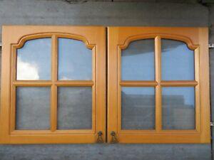 Solid Oak  Glazed  Kitchen Cabinet Door Pair