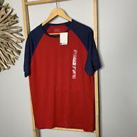 B Collection Size L NEW Red Raglan Crew T-Shirt Big W Men's Cotton NWT