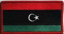 LIBYA Flag Military Patch With VELCRO® Brand Fastener Red Border #21