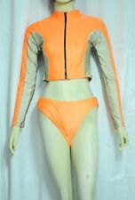 New Orange Two Piece Long Sleeve Swimsuit / Surf Suit for Women size 14 Medium