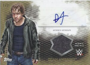 2015 TOPPS WWE UNDISPUTED 1/1 Dean Ambrose Autograph Relic Auto Card GOLD Shield