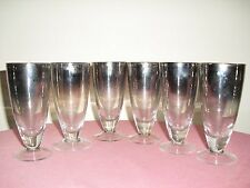 6 VINTAGE Mid Century Silver Fade To Clear Footed Cone Shape Drinking Glasses