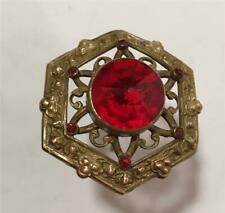"""Antique Hatpin 1 3/4"""" Top W/ 6 Red Rhinestones & Large Red Glass Center Stone"""